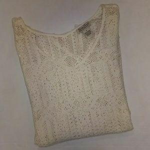 Lucky Brand Lace Crochet 3/4Sleeve Boho SP Ivory
